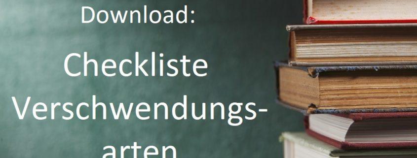 Bild mit Schrift Download Chekliste Verschwendungsarten